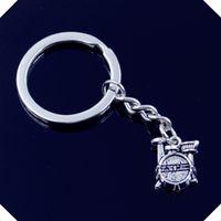 Wholesale Diy Drum Set - new-fashion-men-30mm-keychain-DIY-metal-holder-chain-vintage-drum-set-clock-16-14-4mm key rings
