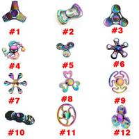 Wholesale 12Types Rainbow Fidget Spinner Colorful EDC Gyro Toys Titanium Alloy US Dollar Clover UFO Whirlwind Funny Beautiful Spinner