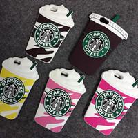 ingrosso cassa di telefono 3d per il iphone 4s-Vendita calda 3D Cartoon Silicon Starbuck copertura della tazza di caffè per Apple iPhone 7 6 6 S Plus 5 s SE 4 S telefoni cellulari DHL libero