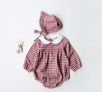 Wholesale Pet Sleeves - Ins NEW ARRIVAL fall infant Kids Cotton Long Sleeve pet pan collar plaid print Romper + headband 100% cotton baby Climb spring autumn romper