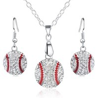 Wholesale Baseball Party Plates - Crystal Baseball Pendant Earrings Necklace Jewelry Sets Fashion Sports Jewelry Best Friend Gift For Team Club Base Ball Lovers