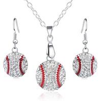 mexican bola ball necklace venda por atacado-Pingente De Beisebol de cristal Brincos Colar Conjuntos de Jóias de Moda Jóias de Esportes Melhor Amigo Presente Para A Equipe do Clube Base de Amantes Da Bola