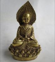 ingrosso sculture di arte del buddha-Decorazioni di nozze / Collezione d'arte Ottone cinese intagliato Statua di Buddha / Decorazione domestica Scultura in metallo per buddismo