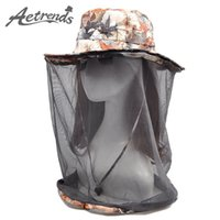 Atacado- [AETRENDS] Net Yarn Anti-Mosquito Sun Chapéus para Mulheres Homens 2017 Summer Hat Travel Sunscreen Cap Z-5092