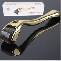 mikro-nadel derma titan großhandel-540 Nadel Titan Microneedle Derma Roller Micro Haut Therapie Golden 0.5mm-2.5mm kostenloser Versand