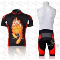 Wholesale Monton Cycling Bib - Wholesale summer 2014 lion monton men's cycling Jersey sets with short sleeve bike shirt & (bib) padded short in cycling clothing