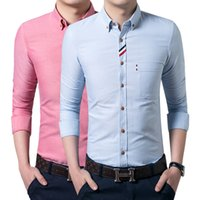Wholesale White Male Dress - Wholesale- Mens Dress shirt white single breasted cotton poplin business shirts Male long sleeve pink shirts grey white blue blue slim fit