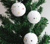 Wholesale New Year S Tree - 6 pcs bag 4cmWhite ball Christmas decorations products Holiday party Christmas tree hang New Year gifts toys