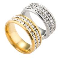 dos dedos anillos al por mayor-Dos filas de anillos de cristal de acero inoxidable anillos de dedo anillos de boda anillo de boda para las mujeres de los hombres de la novia de la moda de la boda de la joyería de la gota de envío