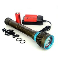 Wholesale Diving Flashlight 7x - 14000 Lumen CREE XML 7x L2 Waterproof Diving LED Flashlight 200M Underwater Torch Flash Light with 26650 Rechargeable Battery + Charger