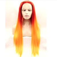 Wholesale Orange Front Lace Synthetic Wig - Newly arrived Ombre orange hair wig synthetic straight hair lace front wigs for black women heat resistant wigs free shipping