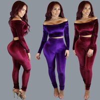 Wholesale Skirt Woman Fashion Korea - High Quality Ladies Tracksuits Women Fashion 2 Piece Sets Slash Neck Pleuche Korea Down Bandage Skirt Sexy Dress Skinny Tops And Long Pants