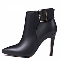 Wholesale sexy shoes small heels - 2017 spring sutumn winter high heels sexy ankle boots genuine leather small size shoes for woman Stilettos heel