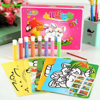 Wholesale Sand Art For Kids - Wholesale- Happyxuan 8pcs Color Sand Art Painting Cards Drawing Toys Set Birthday Gift For Children Kids Craft 4-6 Years Old