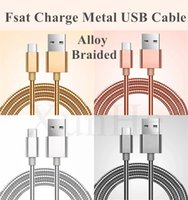 Universal black rose metal - Metal Braided Micro USB Cable Phone Charger V8 Cable Pass A Support Fast Charge Metal Data Sync Wire For Samsung Galaxy Android