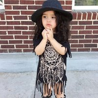 Wholesale Dreamcatcher Dress - Baby girls dreamcatcher printing black dress kids short sleeve tassels chic printing dress casual outfits for 2-5T