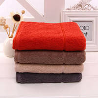 Wholesale Travel Compressed Towel Portable - High quality pure cotton adult towel 4 color 34cm*74cm natural healthy absorbent portable red brown beige dark grey bath travel use