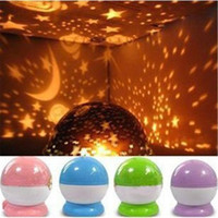Wholesale usb rotary - LED Projector Romantic Rotary Sky Stars Cosmos Star Projector Lamp Cosmos Moon Stars 360 Rotating Round LED Night Light Lamp with USB