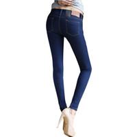 Wholesale blue colored pencils - Wholesale- Female Skinny Pencil Jeans Pants Solid Blue  Black Zipper Big Elastic Slim Jeans Long Trousers