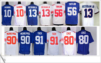 Wholesale Elite Stitch Football Jerseys - Free Shipping #10 Eli Manning 13 Odell Beckham Jr. 56 Lawrence Taylor 80 Victor Cruz Elite Stitched Embroidery Men American Football Jerseys