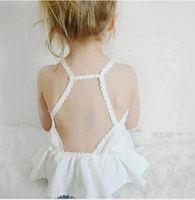 Wholesale Little Girls Lace Tops Wholesale - Little Babies Cotton Lace Vests Infant Kids Girls Backless Fashion Tank Tops 2017 Children's Summer Jumper tops babies clothing