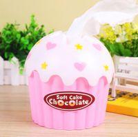 Wholesale Tissue Box Cream - Wholesale- 1Pcs set Cute Lovely Adorable HOT Ice Cream Cupcake Tissue Box Towel Holder Paper Container Dispenser Cover Home Decor