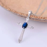 Wholesale 18k Solid Gold Cross - Vintage cross necklace pendant 5*7mm natural dark blue sapphire gemstone cross pendant solid 925 silver sapphire necklace pendant