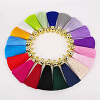 Wholesale Girls Key Necklace - Fashion New Hot 6.5CM Silk Satin Tassel Charm For Making Necklace Earring Key Chain Gold Caps Tassels Jewelry 17 Colors Are Available K359