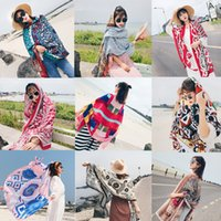 Wholesale Geometric Style Scarves - 20 Colors Ethnic Style Cotton Linen Scarf Woman Summer Seaside Travel Super Large Sunscreen Beach Scarf Wholesale Free Shipping Shawl