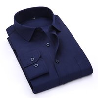 Wholesale Green Twill Fabric - Wholesale- Spring Summer 2017 Men's Navy Blue Long Sleeve Work Shirt One-Pocket Plain twill Fabric Available Business Formal Dress Shirts
