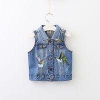 Wholesale Girls Bird Top - Autumn Babies Denim Cartoon Waistcoats Baby Girl Embroidered Bird Vest Kids Girl Fashion Jean Tops 2017 Kids Clothing