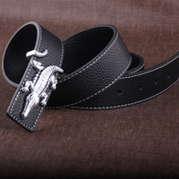Wholesale Leather Belt For Boys - Men's Belts Brown 100% Genuine Leather Belts For Men High Quality Metal Buckle Strap Male Cows Leather Belt Jeans Cowboy Waistbelt
