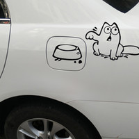 ingrosso adesivi divertenti del ford-Auto-styling Hungry Simon's Cat Bowl Adesivi Per Auto per honda lada toyota car-covers Tappo di carburante Funny Sticker Per ford opel renault
