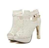 parti ayakkabıları boyutu 34 toptan satış-Zarif Gelin Düğün Ayakkabı Dantel Düğün Çizmeler Yaz Platformu Ayakkabı Parti Akşam boyutu Oymak 34-39