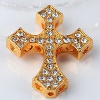 Wholesale Side Ways Cross Gold - Wholesale Free Shipping White Curved Side Ways Crystal Cross Bracelet Gold Connector Bead Charms 30*25*4.5mm