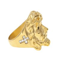Wholesale Jewelry Gold Colored Stainless Steel - Tide Brand Cristo Redentor Jesus Head Men Ring Fashion 18K Gold Plated HIPHOP Stainless Steel Cross Colored Rings Jewelry Gift