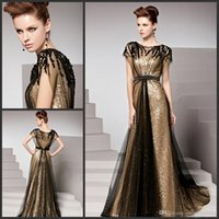 Wholesale Empire Waist Short Prom - Amazing Golden Evening Dresses Bateau Cap Sleeves Empire Waist Formal Party Gown Sequins Beaded Black Net Sweep Train Beling Prom Dresses