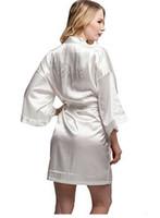 Wholesale Kimono Robe Satin Wholesale - Wholesale- Fashion Silk Bridesmaid Bride Robe Sexy Women Short Satin Wedding Kimono Robes Sleepwear Nightgown Dress Woman Bathrobe Pajamas
