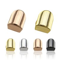 Wholesale Removable Plates - Lureen 4 Colors 5pcs Gold Plated Shiny Single Grills Teeth Cap Hip-Hop Teeth Plain Solid Removable Grills