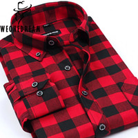 Wholesale Men S Plaid Flannel Shirt - Wholesale- 2017 Spring Style Man Flannel Plaid Causal Shirts Men Long Sleeve Slit Fit Famous Brand Shirts Male Cheap Clothing Plus Size