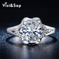 Wholesale Fashion Oval Stone Ring - Visisap Oval stone ring engagement Wedding Rings For women cubic zirconia vintage bague fashion jewelry white gold color VSR269