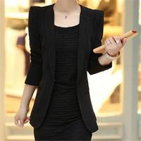 Wholesale Tailor Suit Women - Women Pure Color Career Suits South Korea Spring Fashion Tailored Collar Suit Elegant Temperament Slim Large Size Suit F417