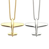 Wholesale Aircraft Necklaces - Europe and the United States new hot goods personalized wild aircraft necklace pendants fashion men and women influx of steel jewelry