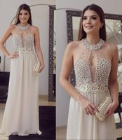 Wholesale Luxurious Halter White Lace - Sexy Luxurious 2017 Arabic Evening Dresses Halter Pearls Crystals A-line Chiffon Prom Dresses Cheap Formal Party Gowns