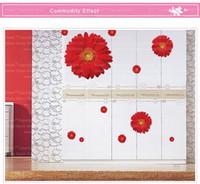 Wholesale Sakura Flower Decal - AY6015abc 3 Designs Creative Daisy Sakura Flowers Pot Wall Stickers Home Decorations Vine Decals Living Room Mural Art Posters