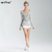 Wholesale Plus Size Off Shoulder Sweater - Wholesale- FROMMAZZ 2016 Autumn Women Sweater Sexy Knitwear Long Sleeve Off Shoulder Bowknot Rhinestone Knitted Tops Pullovers Plus Size