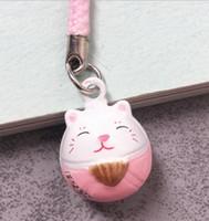 ingrosso gatto rosa caldo-Hot! 50pcs Pink (LOVE) Maneki Neko Lucky Cat Bell Cell Phone Collar Charm Strap 0.6 in.