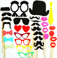 Wholesale Booths Bows - Wholesale- photo booth props 34PCS wedding party decoration lips moustache bow tie wedding birthday christmas new year parties Photo Booth