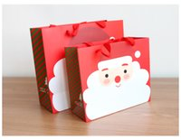 Wholesale Atmosphere Handbags - Christmas gift bag Increase the festive atmosphere DIY Party Santa Claus Candy Paper gift handbag ornaments Party Supplie 2 color wholesal
