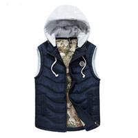 Wholesale Hooded Vest Large - Down Vest Men Winter Waistcoat Vest Hood Autumn Coat Slim Fit Jacket Sleeveless Cotton Padded L XL XXL XXXL Large Size